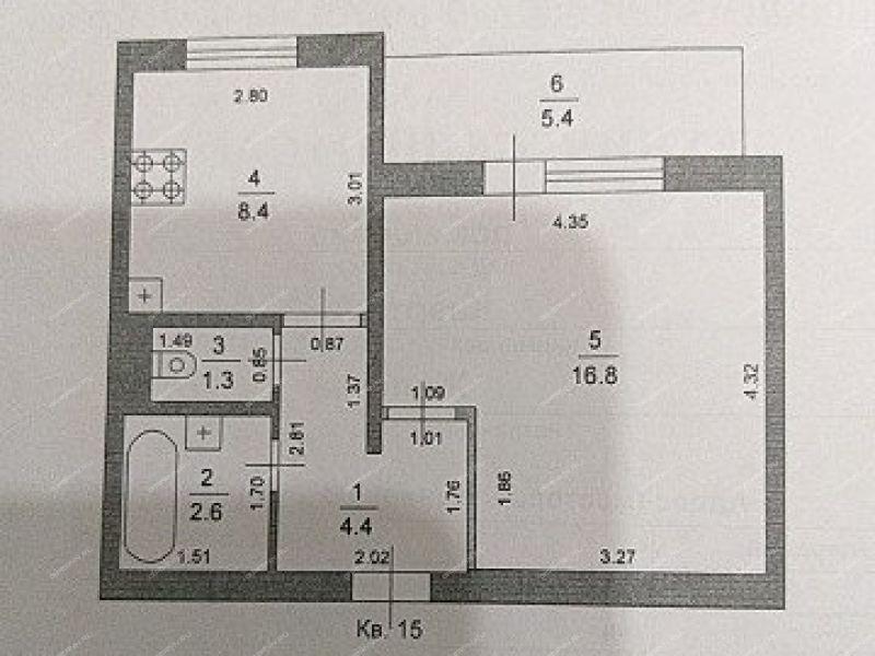 однокомнатная квартира на  рабочий посёлок Юганец