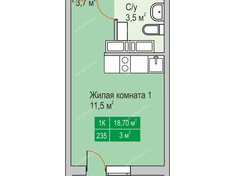 квартира-студия в новостройке на улице Бориса Видяева